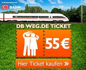 2 Bahntickets für 55 Euro – gültig für alle Strecken (auch ICE)