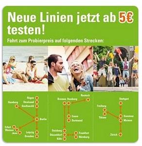 MeinFernbus.de: Neue Linien jetzt ab 5 Euro testen z.B. Berlin->Hamburg