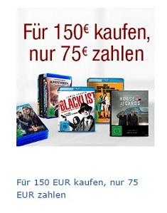 Amazon: Blu-rays für 150 Euro kaufen, nur 75 Euro bezahlen