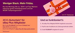 Ebay Black Friday 2017 – 20 Euro-Gutschein ab 50 Euro Bestellwert für Ebay-Plus-Mitglieder!