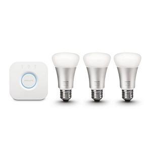 Philips Hue LED Lampe 10 W A60 E27 Starter Set inklusive Bridge 3-er Set dimmbar 16 Mio Farben app-gesteuert 8718696461693 [Energieklasse A]