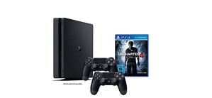 PlayStation 4 Slim Konsole 1TB + Uncharted 4 + 2 Controller