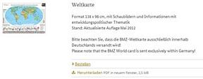 BMZI: Weltkarte Format 138 x 98 cm kostenlos bestellen