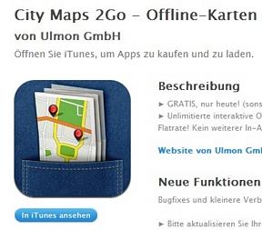 City Maps 2Go – Offline-Karten und Reiseführer für iPhone/iPad/Android kostenlos