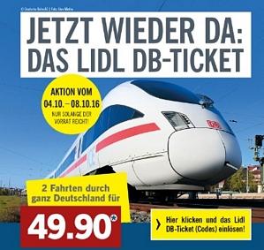 LIDL: 2 Fahrten mit der Deutschen Bahn in der 2. Klasse durch ganz Deutschland für nur 49,90 Euro