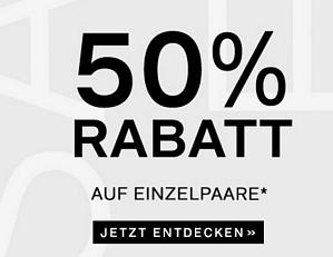 50 Prozent Rabatt auf Einzelpaare im Deichmann Onlineshop