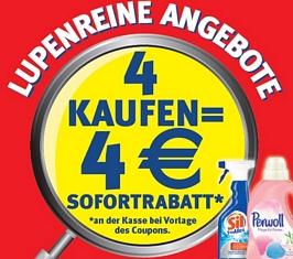 Rabattaktion: 4 Henkelprodukte kaufen und 4 Euro Rabatt erhalten