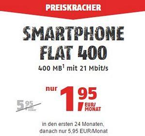 Klarmobil Smartphone Flat 400 – 100 Freiminuten und 400MB Datenvolumen für nur 1,95 Euro / Monat