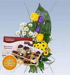 Blumenstrauss Porto Santo + Belgische Pralinen (360g) für nur 17,99 Euro inkl. Versand bei LIDL-Blumen