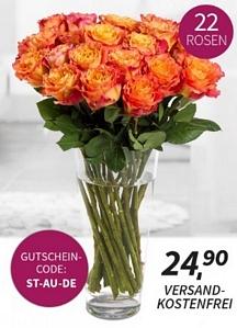 Miflora: Blumenstrauß Orange Juice für 24,90 Euro inkl. Versand (mit 22 orangenen Rosen)