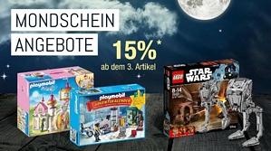 Galeria Kaufhof Mondscheintarif – 15 Prozent Rabatt beim Kauf von 3 Artikel aus den Kategorien Spielwaren und Kinderbekleidung