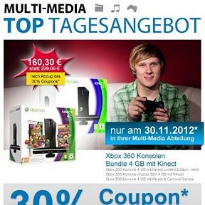 Nur morgen: Xbox360 4GB + Kinect Sensor + Carnival Games für nur 160,30 Euro