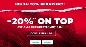 planets-sports.de: 20 Prozent Zusatzrabatt auf reduzierte Artikel