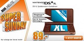 Saturn Super Sunday-Angebote am 30. Juni u.a. mit dem Nintendo DSi XL dunkelbraun  für 89 Euro