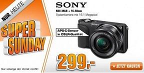 Saturn Super Sunday-Angebote am 11. August u.a. mit der Systemkamera Sony NEX 3 NLB+16-50mm für 299 Euro (idealo: 343 Euro)