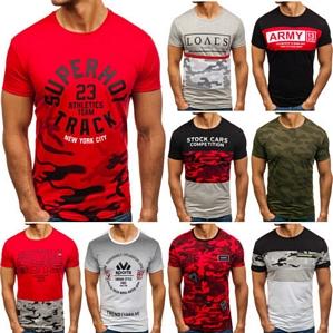 BOLF Herren T-Shirt Tee Kurzarm Rundhals Classic Fit Aufdruck Camo Mix 3C3