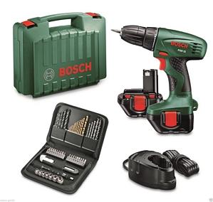 Bosch Akkuschrauber PSR 12 grün Schrauben LED-Licht Softgrip 700U/min + 2 Akkus + 51 tlg. Zubehörset
