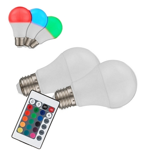 Globo LED E27 RGB Leuchtmittel mit Fernbedienung dimmbar 2er-Set (10675)