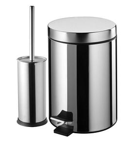 Bisk Set Treteimer WC-Garnitur Mülleimer Bürstengarnitur Abfalleimer Pedaleimer