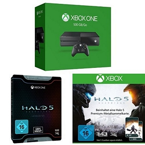 Xbox One 500 GB Konsole 2015 + Halo 5: Guardians – Limited Edition + Halo 5 Sammelkarte
